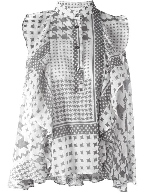 houndstooth pattern blouse
