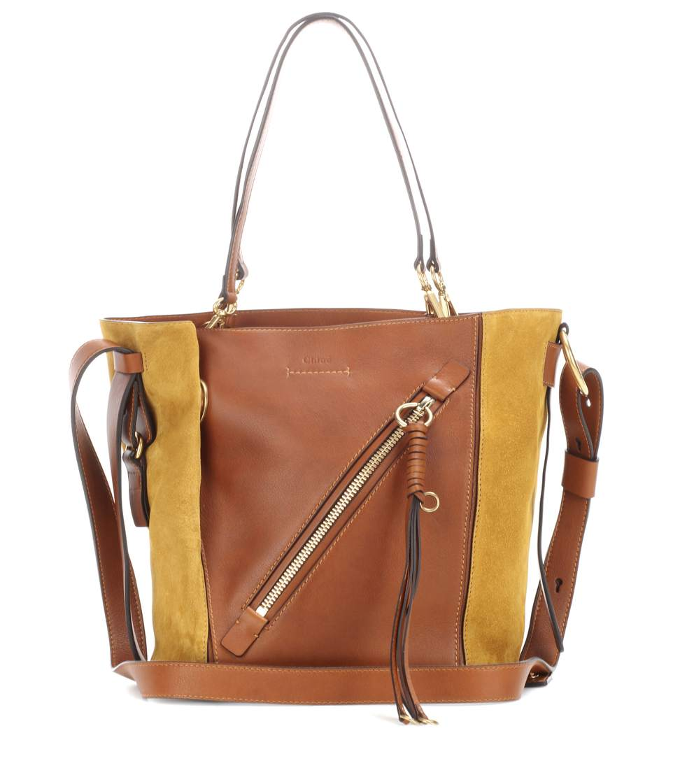 Chloé Leathers Myer Small leather and suede tote