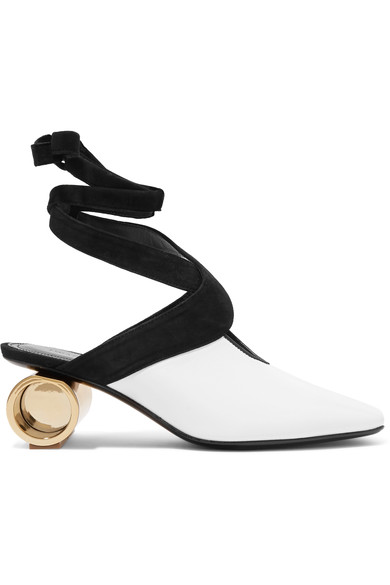 JW ANDERSON CYLINDER HEEL LEATHER BALLET SHOES IN WHITE