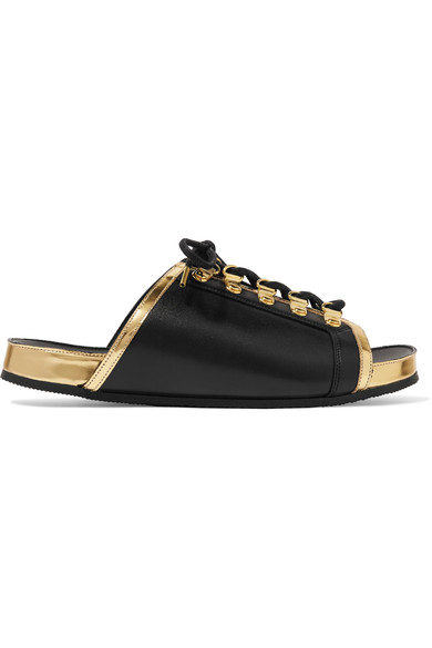 Balmain Leathers Lace-up metallic-trimmed leather slides