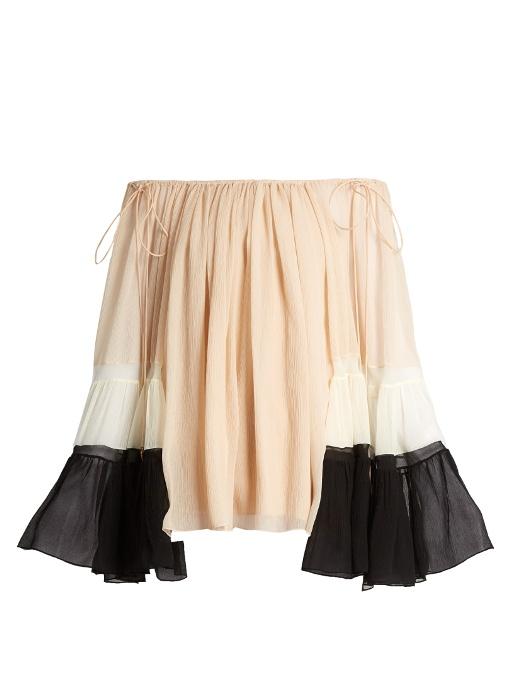Chloé Silks Off-the-shoulder silk-crepon blouse