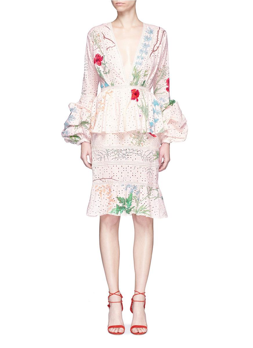 Johanna Ortiz Cottons 'Vittoria' embellished floral eyelet lace dress