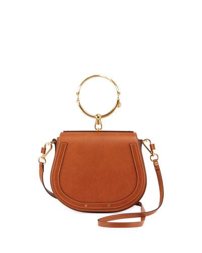 Nile Bracelet medium leather and suede shoulder bag
