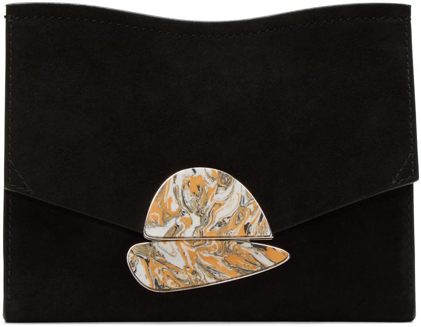 Proenza Schouler Leathers PROENZA SCHOULER BLACK SUEDE SMALL CURL CLUTCH