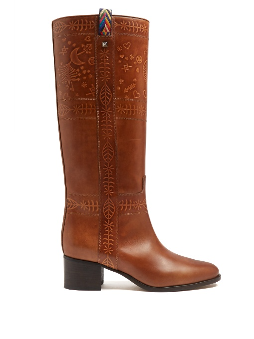 Valentino Leathers EMBOSSED LEATHER KNEE-HIGH BOOTS