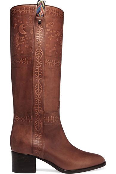 Valentino Leathers Embossed leather knee boots