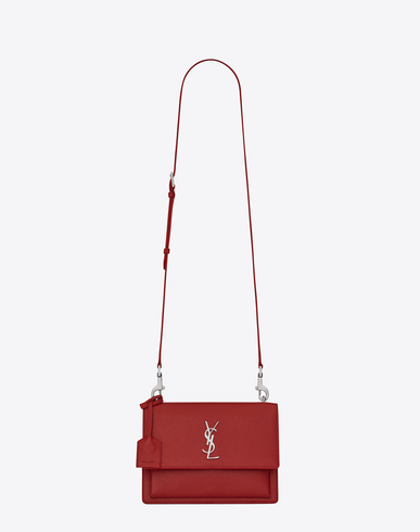 MEDIUM SUNSET SATCHEL IN LIPSTICK RED GRAINED LEATHER