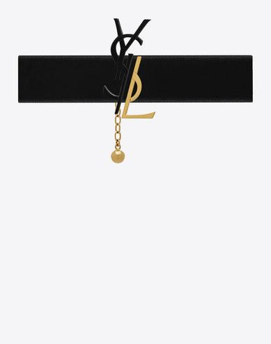 Black & Gold Velvet Deconstructed Monogram Choker