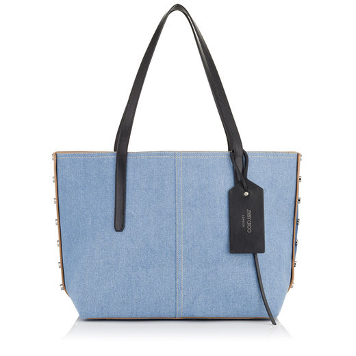 JIMMY CHOO Twist East West Light Jean Bicolour Denim Mix Tote Bag