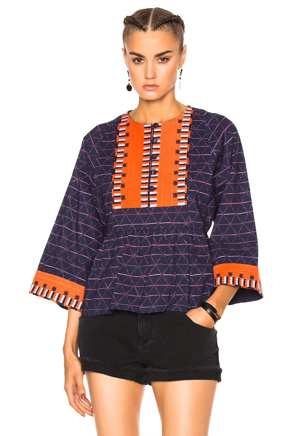 APIECE APART Todos Santos Drape Top in Embroidered La Esquina Print