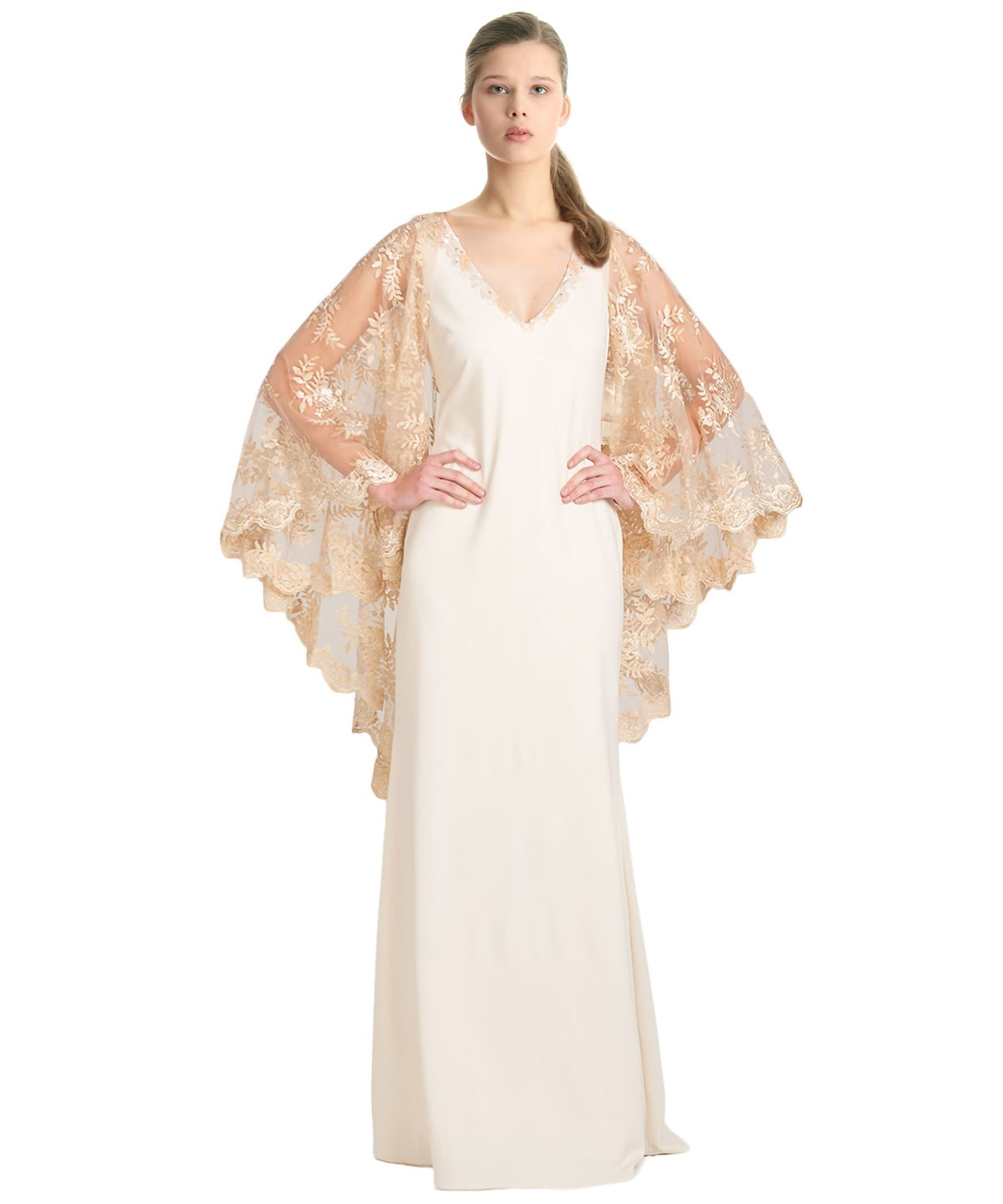 CAPE SLEEVE EVENING GOWN