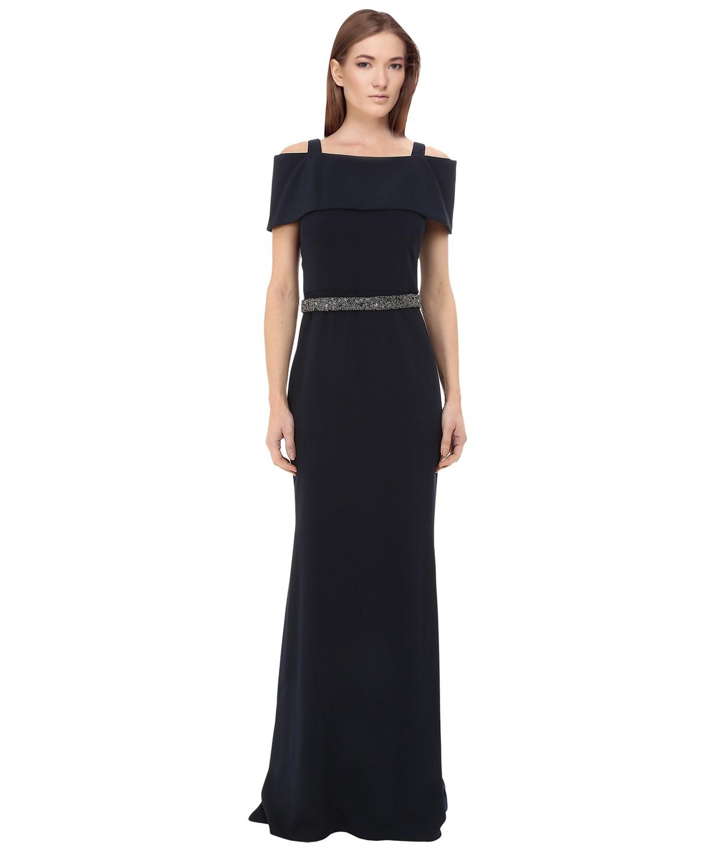 BADGLEY MISCHKA Off The Shoulder Beaded Waist Gown in Blue