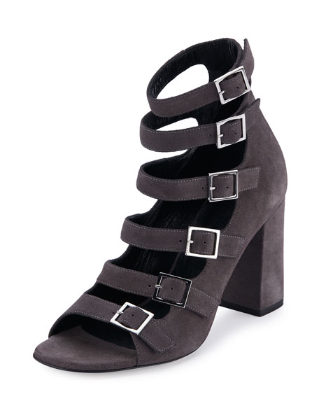 SAINT LAURENT SUEDE BABIES MULTI-STRAP 90MM SANDAL, DARK ANTHRACITE