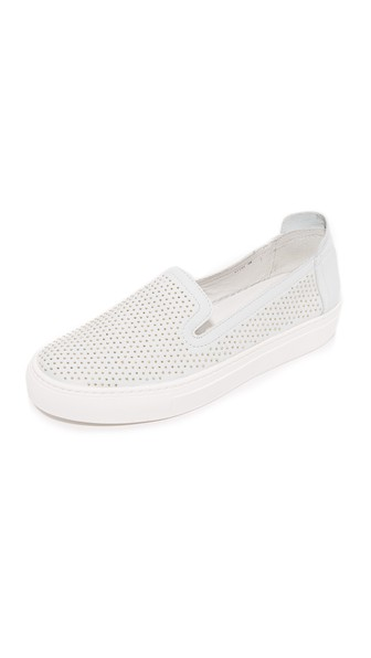 RACHEL ZOE Burke Studded Slip On Sneakers in White