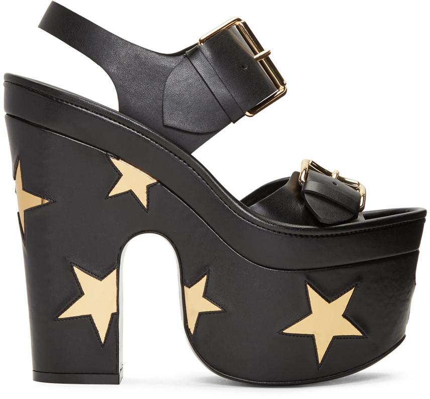 Stella Mccartney Suedes Black Platform Buckles Stars Sandals