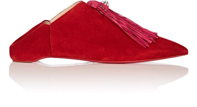 MEDINANA FRINGED SUEDE COLLAPSIBLE-HEEL SLIPPERS