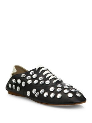 Mika Crystal-Studded Leather Babouche Mules