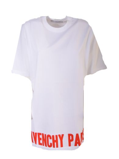 Givenchy Cottons Logo Print T-shirt From Givenchy: White/red Logo Print T-shirt With Ribbed Crew Neck, Dropped Should