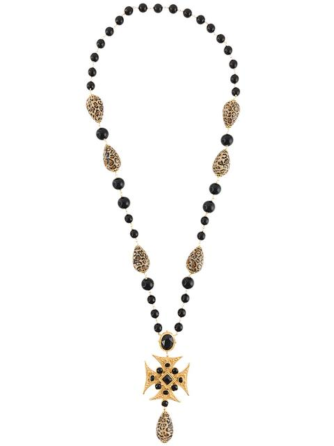 beaded long cross necklace