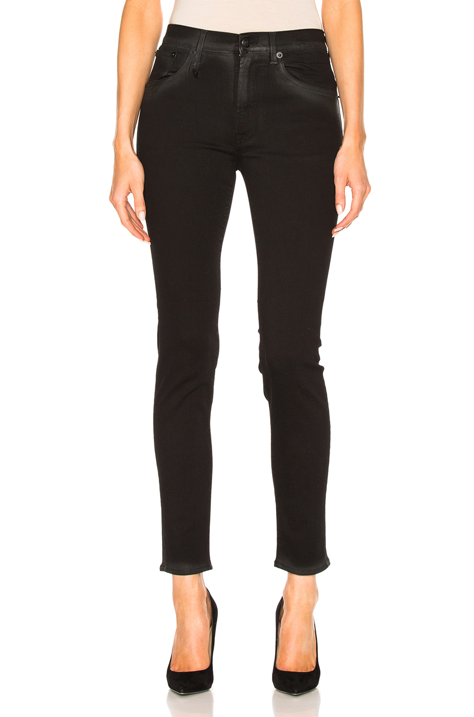 R13 Jenny Mid Rise Skinny Jeans in Black Marble