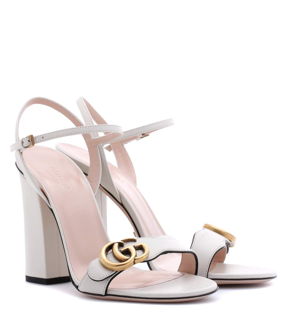 75MM MARMONT GG LEATHER SANDALS, OFF WHITE