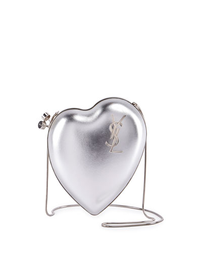 LOVE BOX LEATHER CLUTCH, SILVER, ONE SIZE