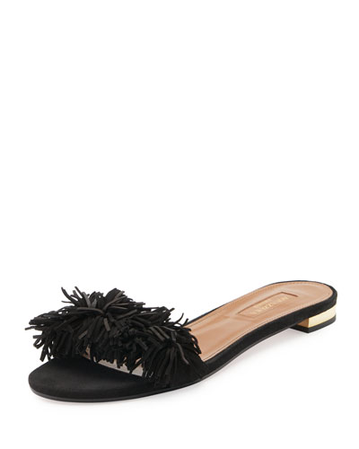 10MM WILD THING FRINGED SUEDE SANDALS, BLACK