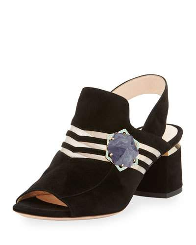 'Camille' hexagon stone cutout suede slingback sandals