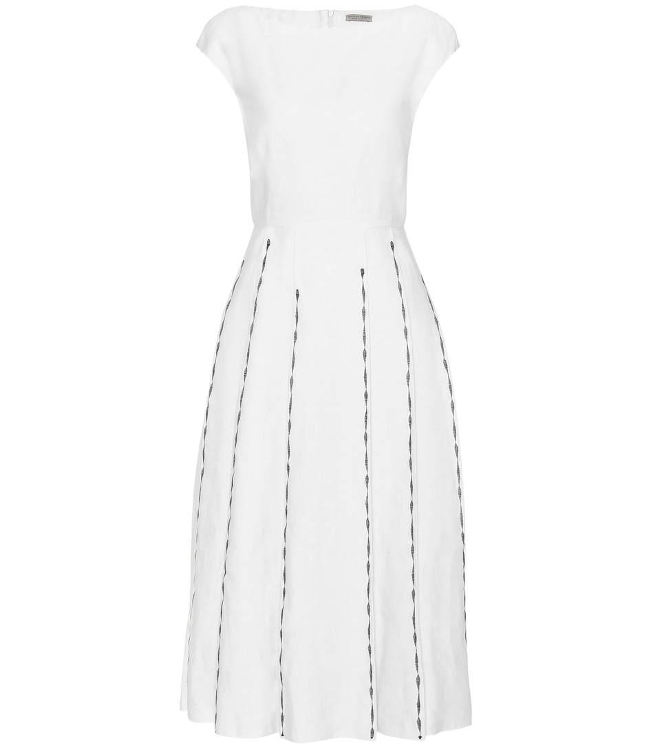 Bottega Veneta Linens Embroidered linen and cotton dress
