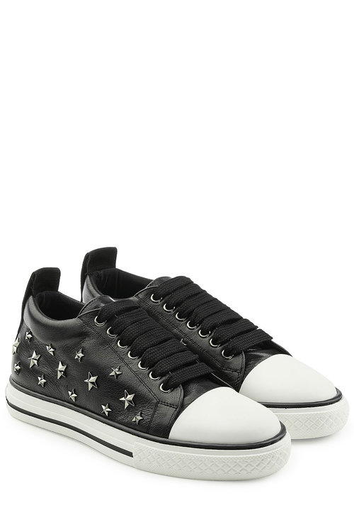 Red Valentino Leathers Leather Studded Sneakers