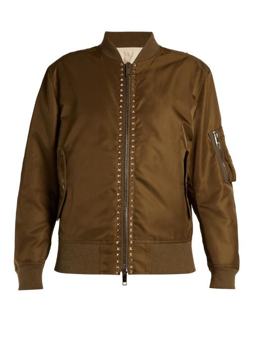 Rockstud-embellished shell bomber jacket