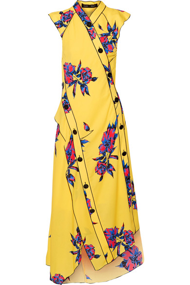 Proenza Schouler Silks Asymmetric floral-print silk-crepe dress