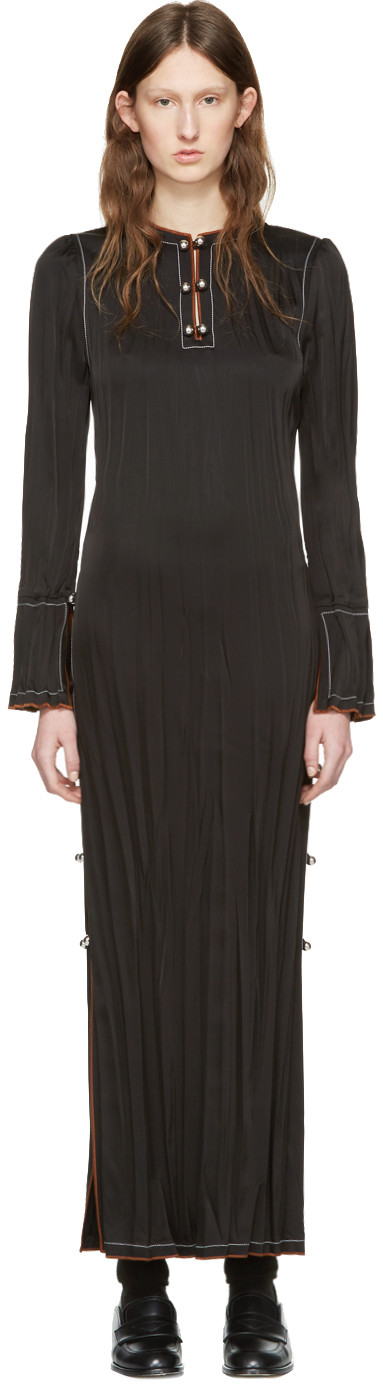 LONG-SLEEVE BUTTON-SIDE MAXI DRESS, BLACK