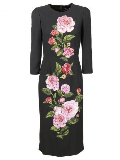 Dolce & Gabbana Silks Dolce & Gabbana Rose Print Cady Dress