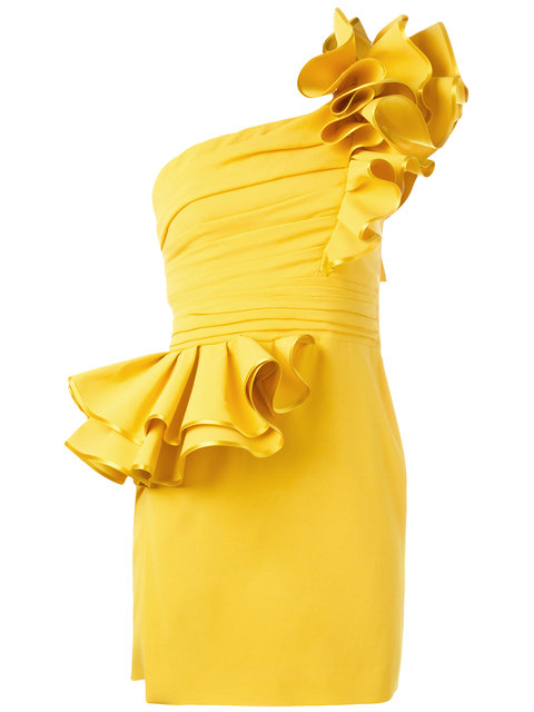 DSQUARED2 One Shoulder Ruffled Stretch Crepe Dress, Yellow