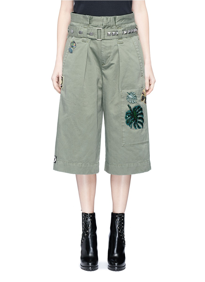 Marc Jacobs Militarys Sequin embroidered patch belted cargo shorts