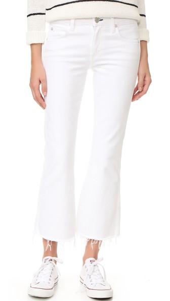 White Kick Crop Jeans