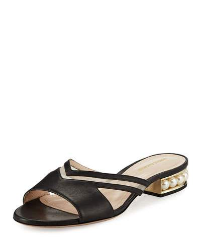 CASATI MESH-PANELED EMBELLISHED LEATHER SLIDES