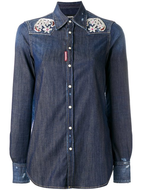embroidered anchor Western shirt