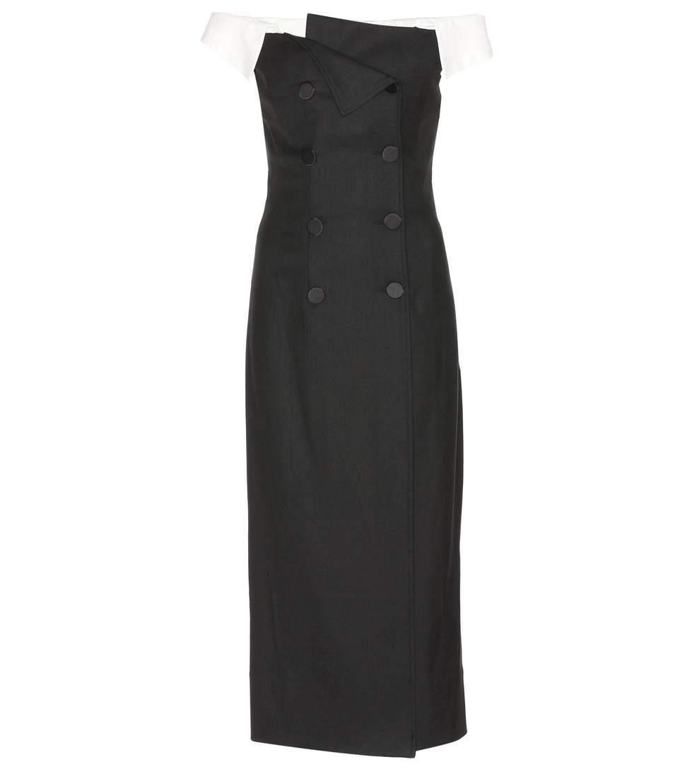 Stretch Tuxedo Off-The-Shoulder Dress