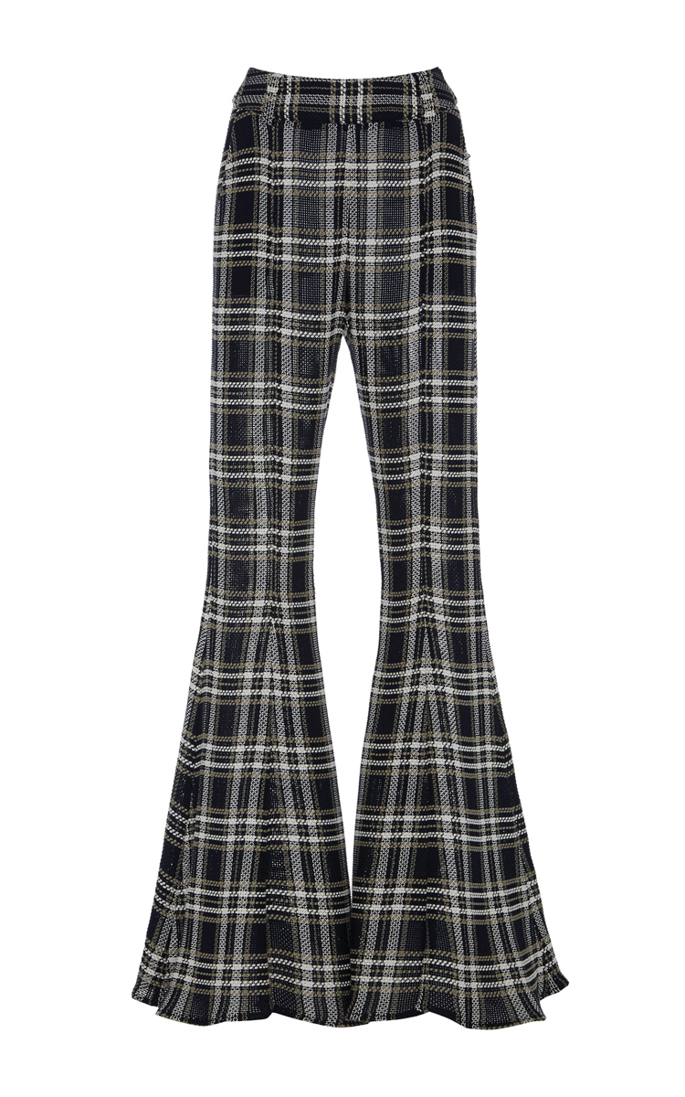 BEAUFILLE Navi Plaid Open-Knit Cotton Flared Pants