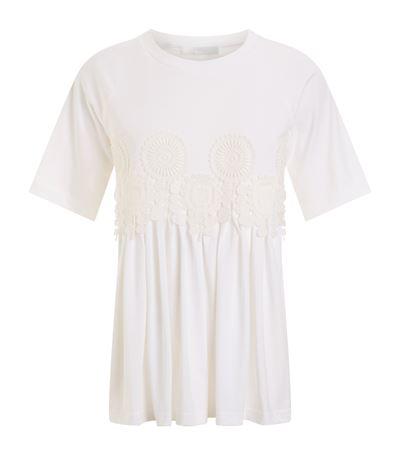 Chloé Downs Crochet Trim T-Shirt