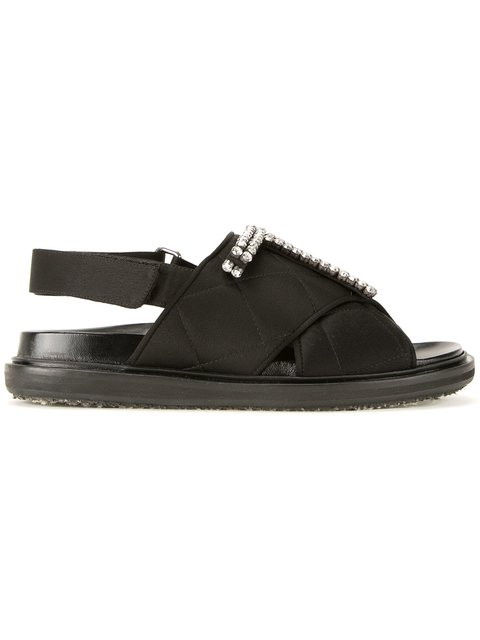 Marni Crystals QUILTED FUSSBETT SANDALS