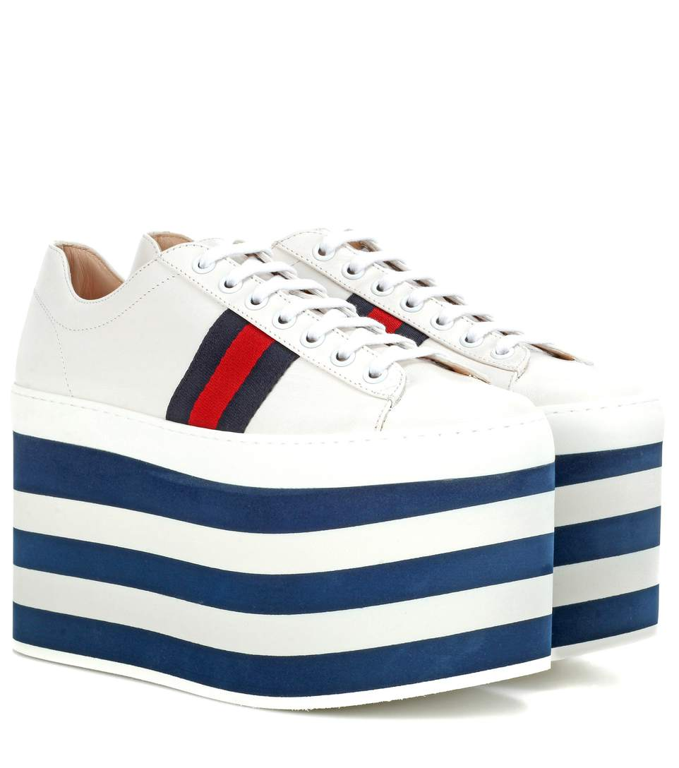 gucci white peggy high platform sneakers modesens. Black Bedroom Furniture Sets. Home Design Ideas
