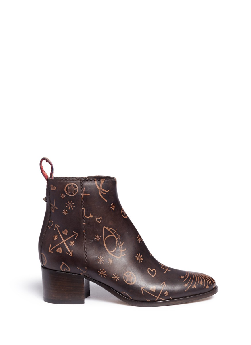 Valentino Leathers 'Santeria' embossed leather ankle boots