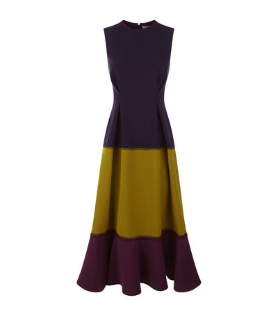 ROKSANDA Ambreen Paneled Stretch-Cady Midi Dress