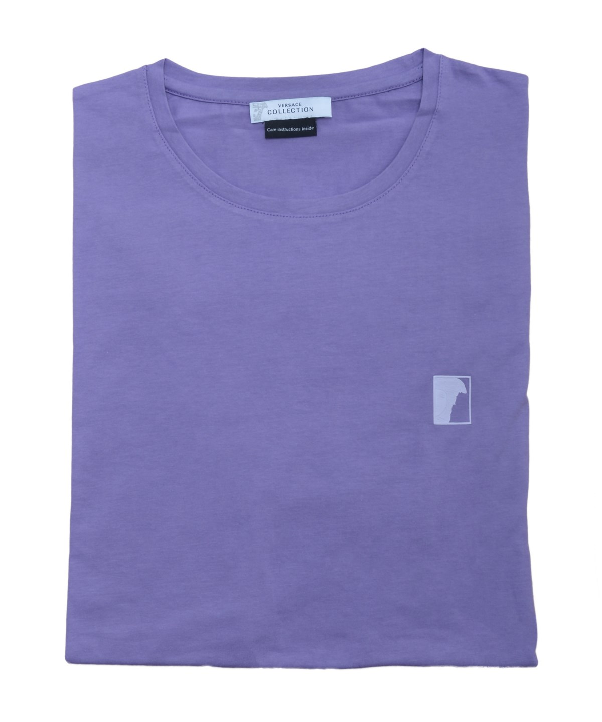 VERSACE COLLECTION MEN MEDUSA LOGO CREW NECK T-SHIRT PURPLE