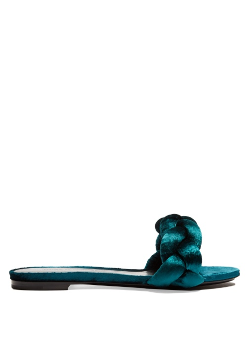 Plaited velvet slides
