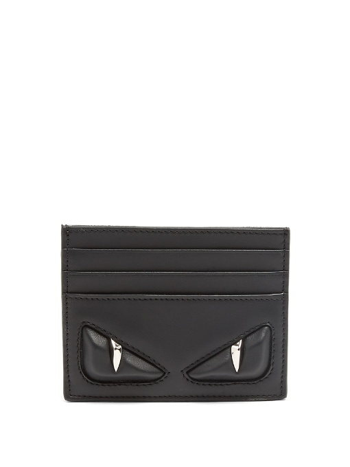 Monster eyes leather card holder