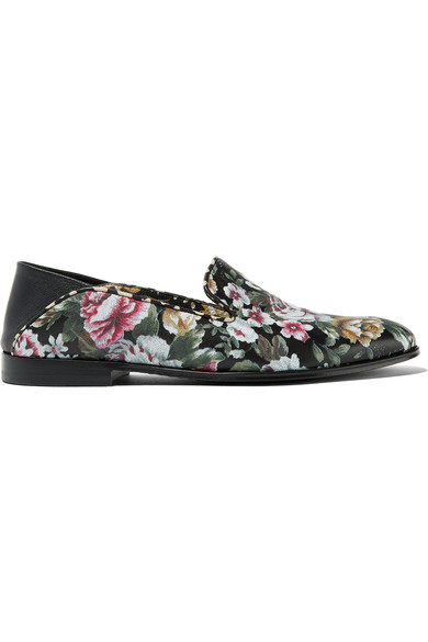 WOMAN FLORAL-PRINT LEATHER LOAFERS BLACK